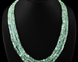 Genuine 450.00 Cts 3 Line Green Flourite Beads Necklace