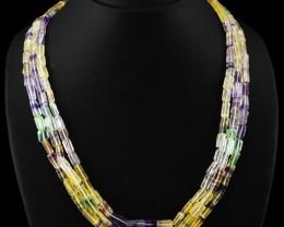Genuine 420.00 Cts 3 Line Multicolor Flourite Beads Necklace