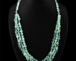 Genuine 350.00 Cts Amazing Green Flourite Beads Necklace