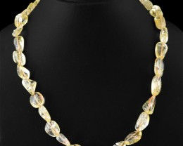 Genuine 245.00 Cts Untreated Yellow Citrine Beads Necklace