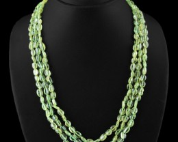 Genuine 350.00 Cts 3 Line Green Peridot Beads Necklace
