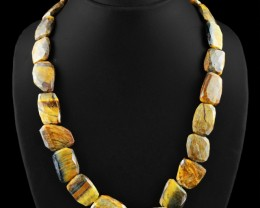 Genuine 545.00 Cts Untreated Golden Tiger Eye Beads Necklace