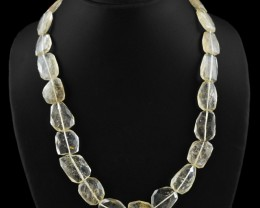 Genuine 365.00 Cts Untreated Rutile Quartz Beads Necklace