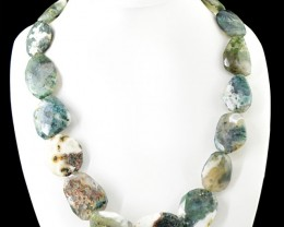 Genuine 685.00 Cts Untreated Moss Agate Beads Necklace