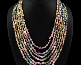 Genuine 502.75 Cts Watermelon Tourmaline 7 Line Beads Necklace