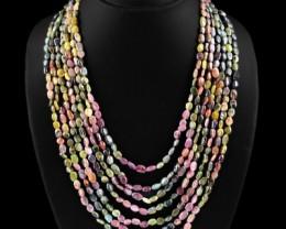 Genuine 502.75 Cts Watermelon Tourmaline 7 Line Beads Necklace