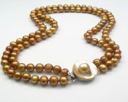 Double-strand Bronze Pearl Necklace with Blister pearl Clasp