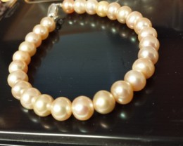 PINK PEARL BRACELET 925 STERLING SILVER CLASP NEW