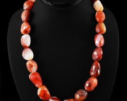 Genuine Orange Agate Faceted Beads Necklace