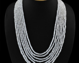 Genuine 370.90 cts 7 Line White Quartz Necklace