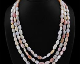 Natural 392.70 Cts Pink Australian Opal 3 Line Necklace