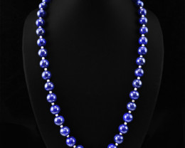 Natural 504.10 Cts Blue Lapis Lazuli Knotted Round Beads Necklace