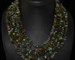 Natural 700.00 Cts Blue Color Change Labradorite 5 LIne Necklace