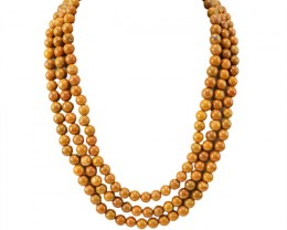 Natural 850.30 Cts 3 Line Jasper Round Beads Necklace