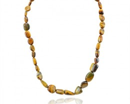Natural 247.20 Cts Golden Tiger Eye Untreated Necklace