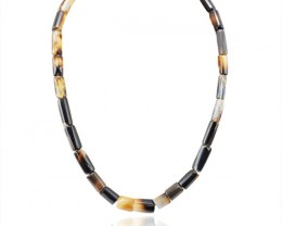 Natural 331.55 Cts Black Onyx Untreated Beads Necklace