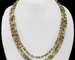 Natural 309.00 Cts 3 Line Faceted Hessonite Garnet Necklace