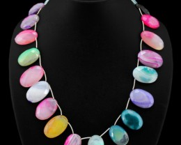 Natural Multicolor Onyx Faceted Beads Necklace