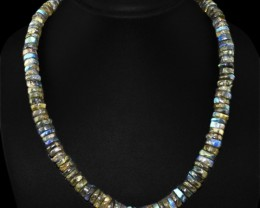 Natural 425.40 Cts Blue Color Change Labradorite Round Beads Necklace