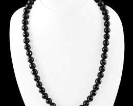 Natural 335.00 Cts Black Spinel Faceted Round Beads Necklace