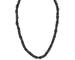 Natural 189.90 Cts Black Spinel Faceted Beads Necklace