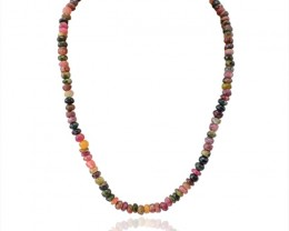 Natural 250.00 Cts Watermelon Tourmaline Beads Necklace