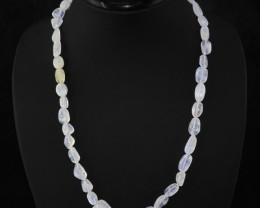 Natural 185.00 Cts White Moonstone Beads Necklace