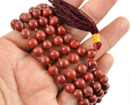 $24.00 SPECIAL PRICE OFFER :108 Beads Prayer Red Jasper Gemstone Necklace