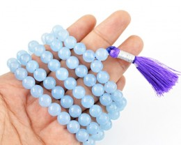 $24.00 SPECIAL PRICE OFFER :108 Beads Prayer Blue Chalcedony Gemstone Neckl