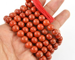 $24.00 SPECIAL PRICE OFFER :108 Beads Prayer Red Jasper Gemstone Necklace