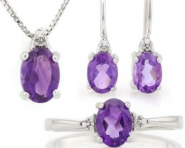 MAGNIFICENT ! 2 4/5 CARAT AMETHYST &  DIAMOND 925 STERLING SILV