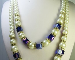 HIGH USTER PEARL AMETHYST NECKLACE QT 278