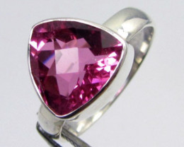PINK TRILLION TOPAZ DOUBLET  RING SILVER SIZE8.5 QT 510