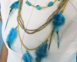 TURQUOISE -BLUE FEATHER STYLE NECKLACE QT172