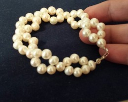 WHITE PEARL BRACELET 925 STERLING SILVER CLASP