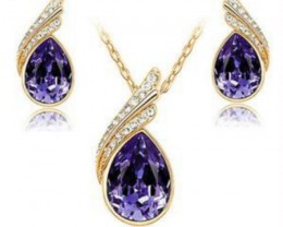 Party Waterdrop Jewelry Set Crystal Pendant Necklace And Earrings Jewelry S