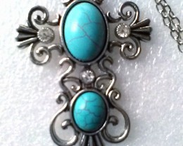 Graceful Silver Plate Natural Turquoise And Crystal Cross Sweater Necklace