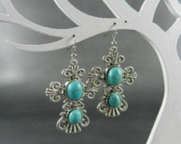 Graceful Silver Plate Natural Turquoise And Crystal Cross Earrings