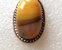 Silver Plate Yellow Botswana Agate Gemstone Pendant