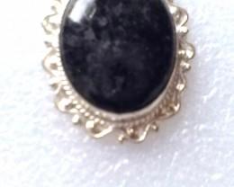 Silver Plate Black Stone Pendant