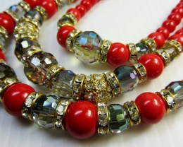 PASSION RED BEAD FASHION STYLE NECKLACE QT 301
