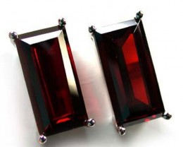 MODERN BEAUTIFUL RUBY LIKE STERLING SILVER EARRINGS AAA612