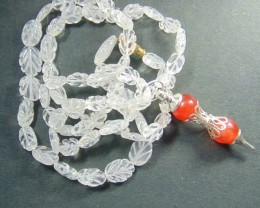 Natural white qartz stones beads neckace with stone pendent