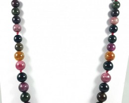 422 CT MULTI TOURMALINE BEADS NECKLACE 7X9X11MM