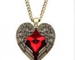 Angel Wing Bronze Tone Red Rhinestone Crystal Heart Necklace Earrings
