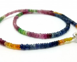 42CM LINE RUBY,EMERALD,SAPPHIRE FACETED BEADS NECKLACE 57 CARATS 3X4X2MM