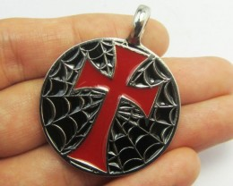 RED CROSS PEWTER PENDANT QT 623