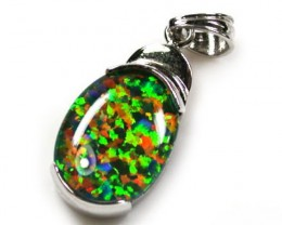 Gem fire Simulant Opal pendant ML540