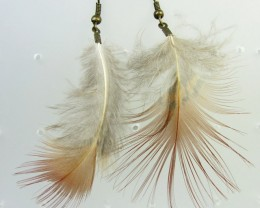 CUTE NATURAL FEATHER EARRINGS QT 346