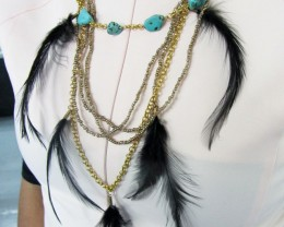 TURQUOISE BLACK FEATHER STYLE NECKLACE QT177